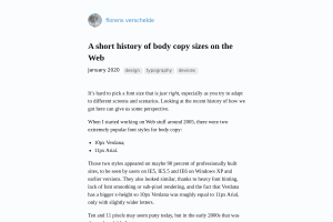 screenshot of A short history of body copy sizes on the Web