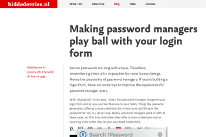 screenshot of Making password managers play ball with your login form