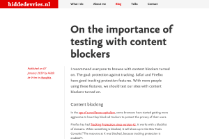 screenshot of On the importance of testing with content blockers