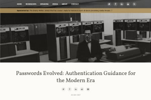 screenshot of Passwords Evolved: Authentication Guidance for the Modern Era