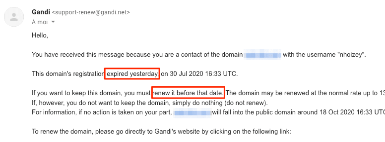 Screenshot of an email from Gandi