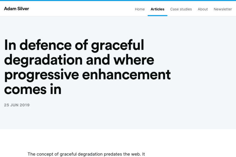 screenshot of In defence of graceful degradation and where progressive enhancement comes in