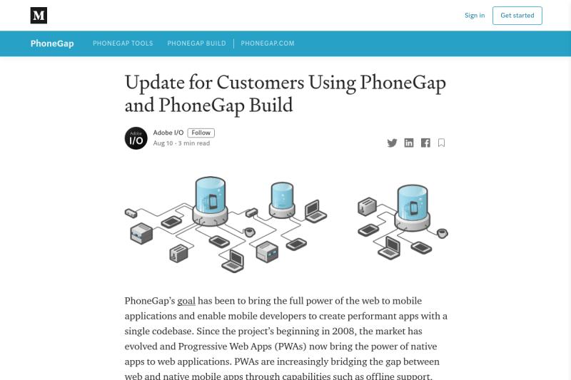 screenshot of Update for Customers Using PhoneGap and PhoneGap Build
