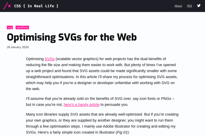 screenshot of Optimising SVGs for the Web