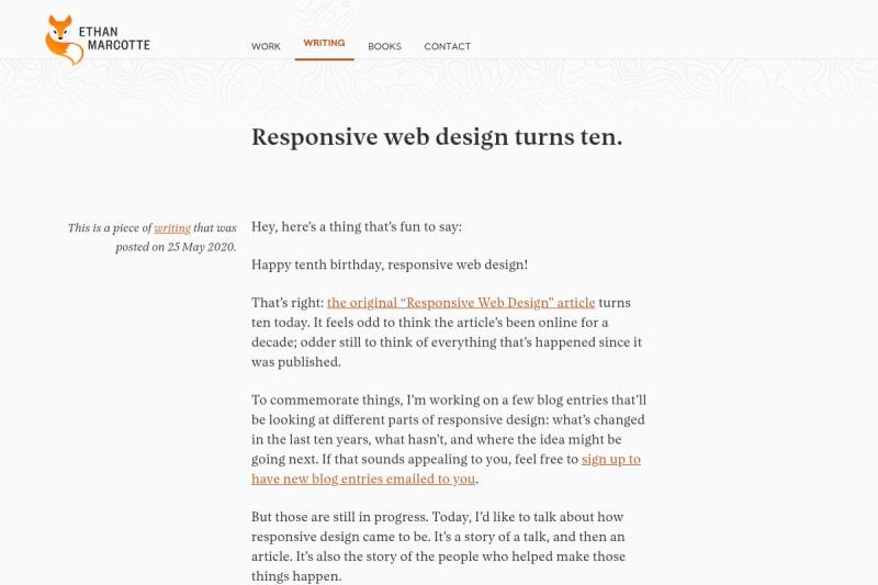 screenshot of Responsive web design turns ten