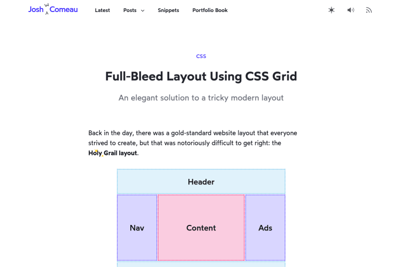screenshot of Full-Bleed Layout Using CSS Grid