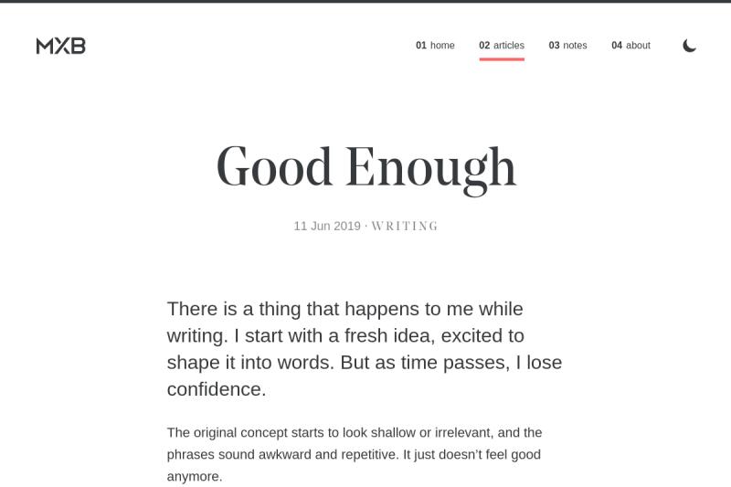 screenshot of Good Enough