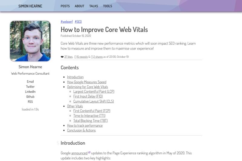screenshot of How to Improve Core Web Vitals
