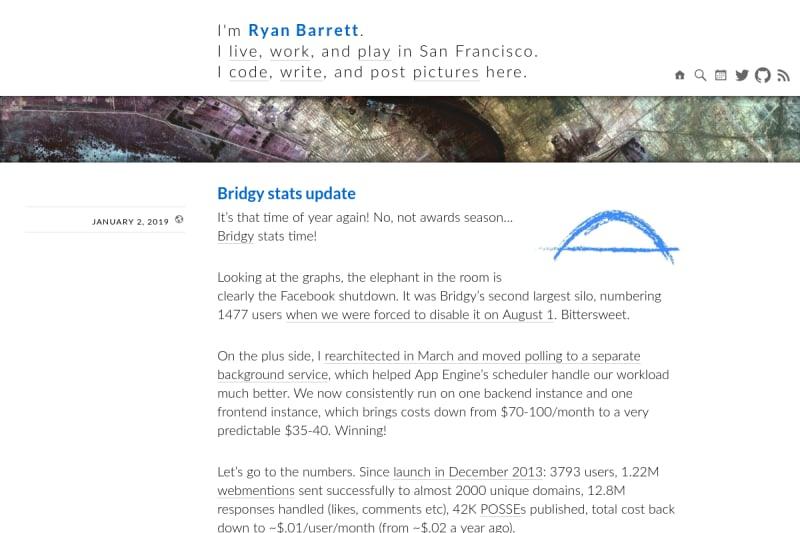 screenshot of Bridgy stats update
