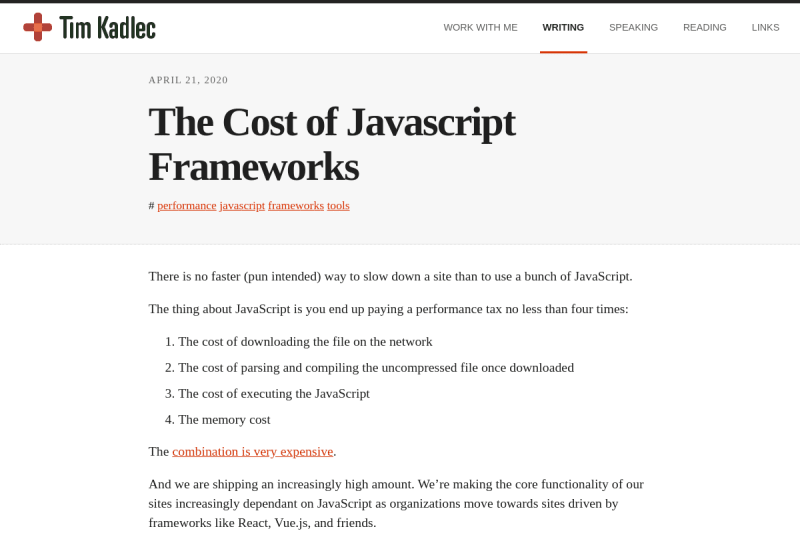 screenshot of The Cost of Javascript Frameworks