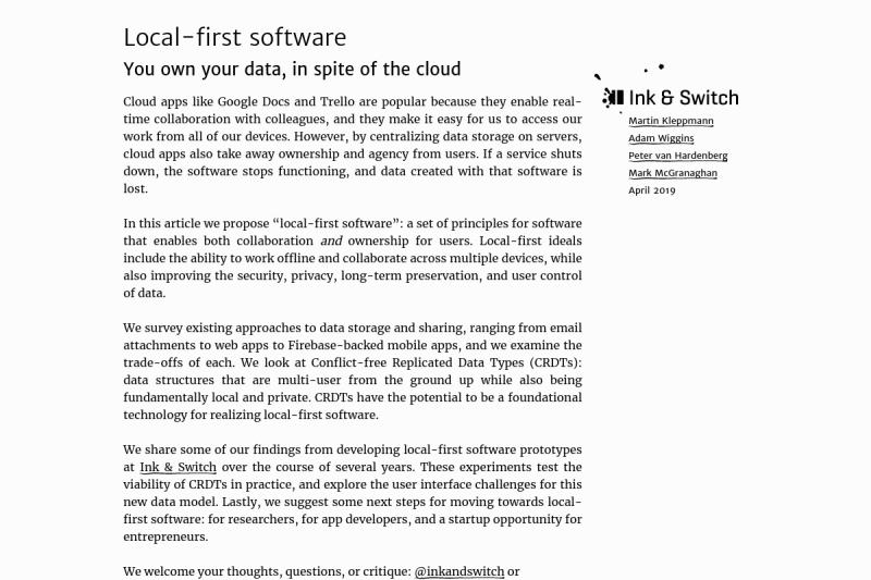 screenshot of Local-first software
