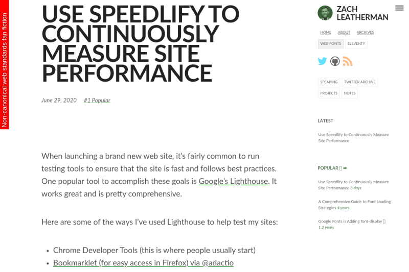 screenshot of Use Speedlify to Continuously Measure Site Performance