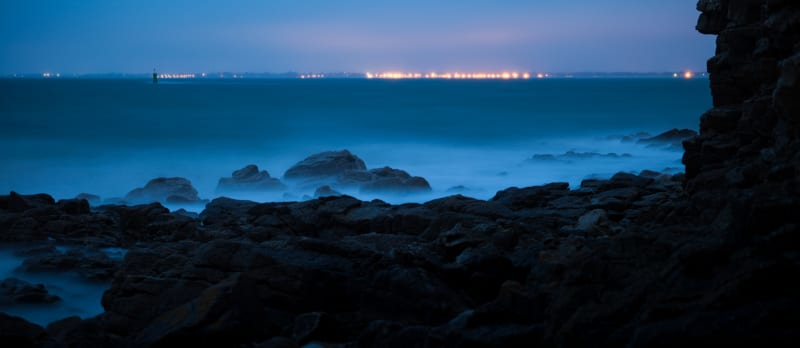 A long exposure of the sea shore