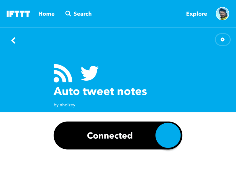 "Screenshot of an ""applet"" in IFTTT"