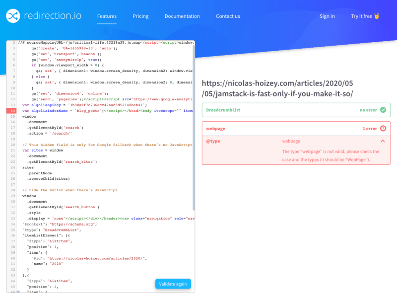 Redirection.io's Structured data validation tool shows an error