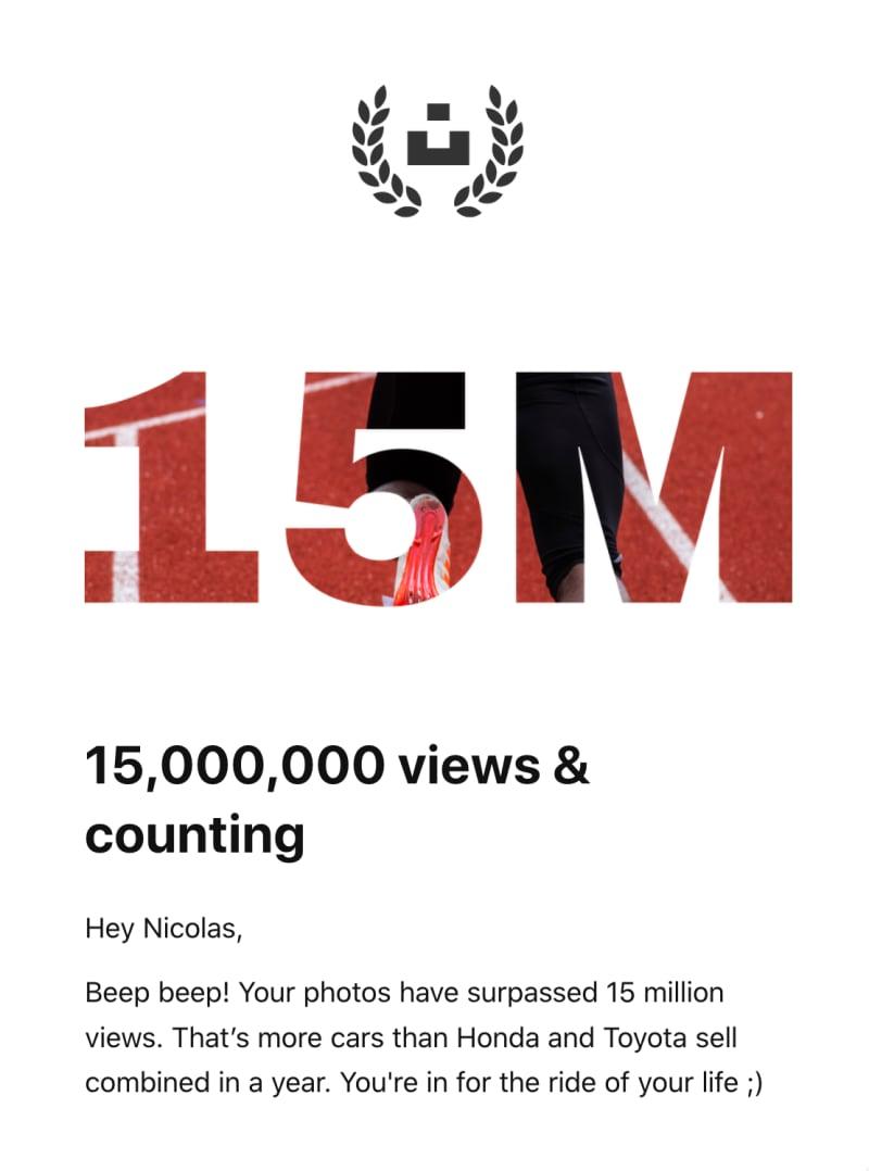 15000000 views on Unsplash!