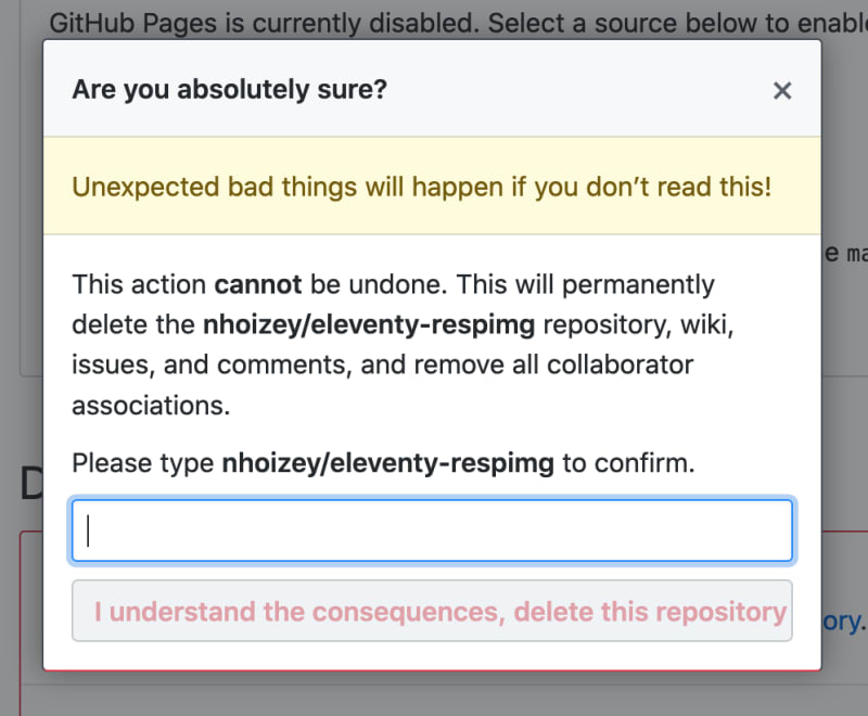 The UI for repository deletion on Github