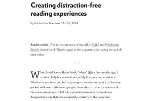 "Screenshot of ""Creating distraction-free reading experiences"""