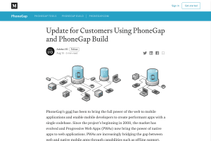 "Screenshot of ""Update for Customers Using PhoneGap and PhoneGap Build"""