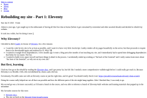 screenshot of Rebuilding my site - Part 1: Eleventy