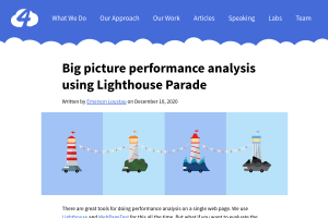 screenshot of Big picture performance analysis using Lighthouse Parade