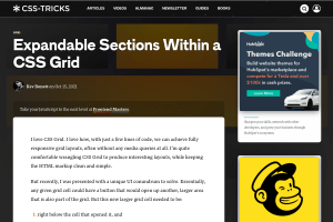 screenshot of Expandable Sections Within a CSS Grid