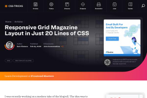 "Screenshot of ""Responsive Grid Magazine Layout in Just 20 Lines of CSS"""