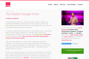 screenshot of The Fastest Google Fonts