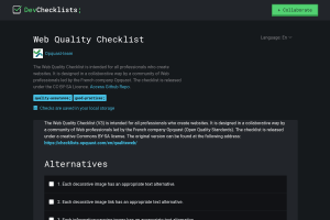 screenshot of Web Quality Checklist