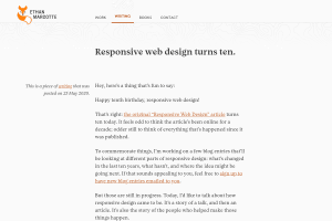 "Screenshot of ""Responsive web design turns ten"""
