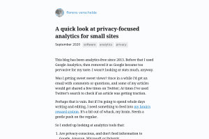 "Screenshot of ""A quick look at privacy-focused analytics for small sites"""