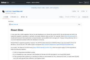 screenshot of React Bias