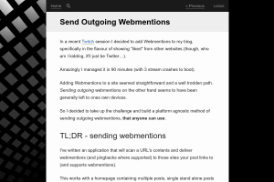 screenshot of Send Outgoing Webmentions