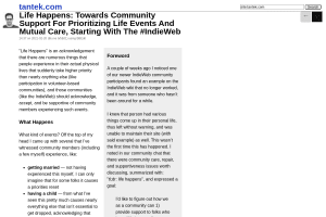 """Screenshot of """"Life Happens: Towards Community Support For Prioritizing Life Events And Mutual Care, Starting With The #IndieWeb"""""""