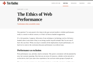 screenshot of The Ethics of Web Performance