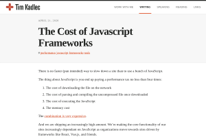 screenshot of The Cost of Javascript Frameworks