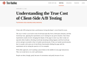 screenshot of Understanding the True Cost of Client-Side A/B Testing