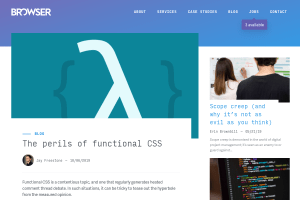 "Screenshot of ""The perils of functional CSS"""
