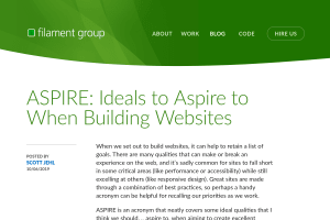 "Screenshot of ""ASPIRE: Ideals to Aspire to When Building Websites"""