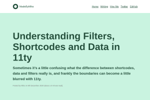"Screenshot of ""Understanding Filters, Shortcodes and Data in 11ty"""