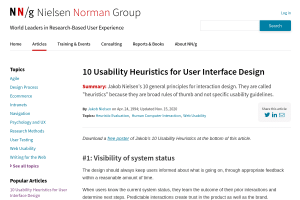 screenshot of 10 Usability Heuristics for User Interface Design