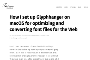 screenshot of How I set up Glyphhanger on macOS for optimizing and converting font files for the Web