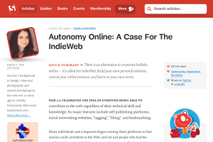 "Screenshot of ""Autonomy Online: A Case For The IndieWeb"""