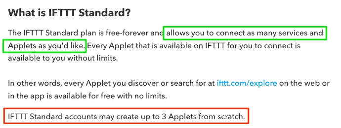 A screenshot of IFTTT FAQ