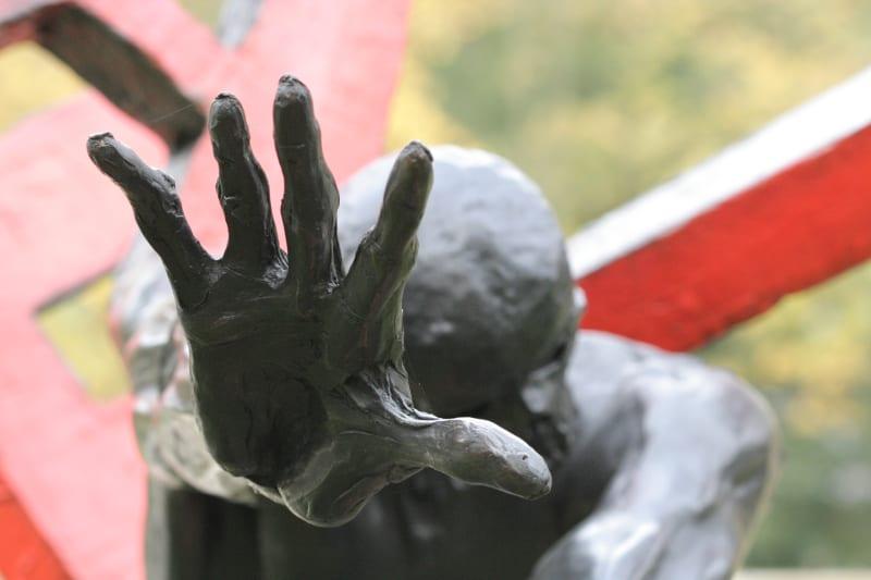 A very close statue hand