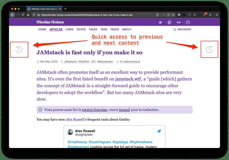 Screenshot showing quick access buttons