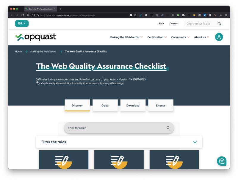 Screenshot of the Web Quality Assurance Checklist site.