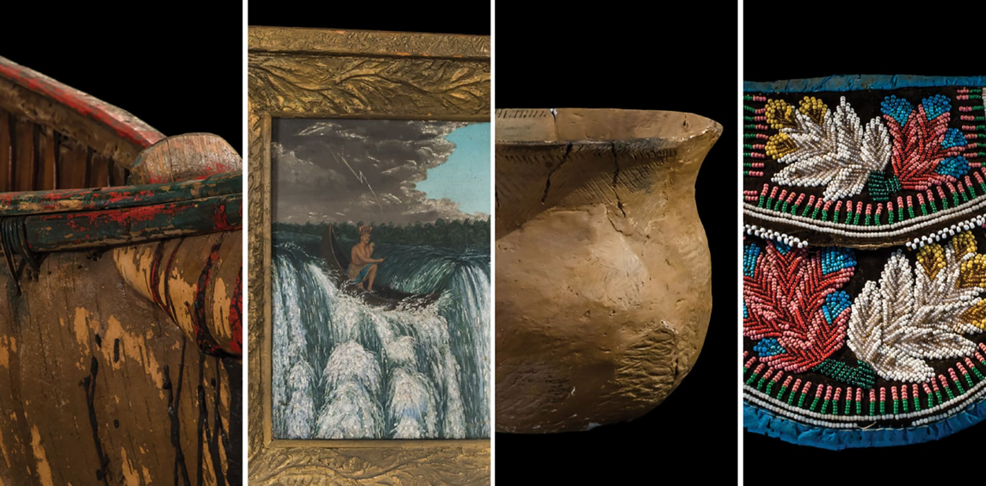 Collage of canoe, painting, pottery and beaded purse