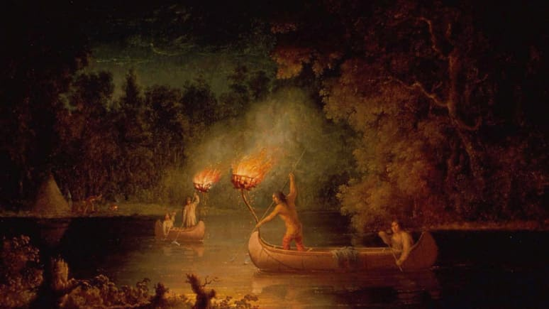 Painting of two canoes fishing at night with a torch