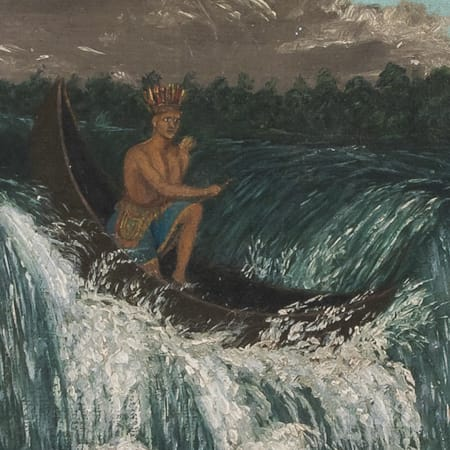 Clip of a painting of a person in a canoe
